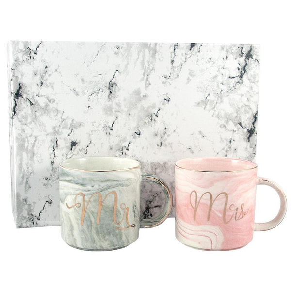 Mr and Mrs Marble coffee cup Gift Set