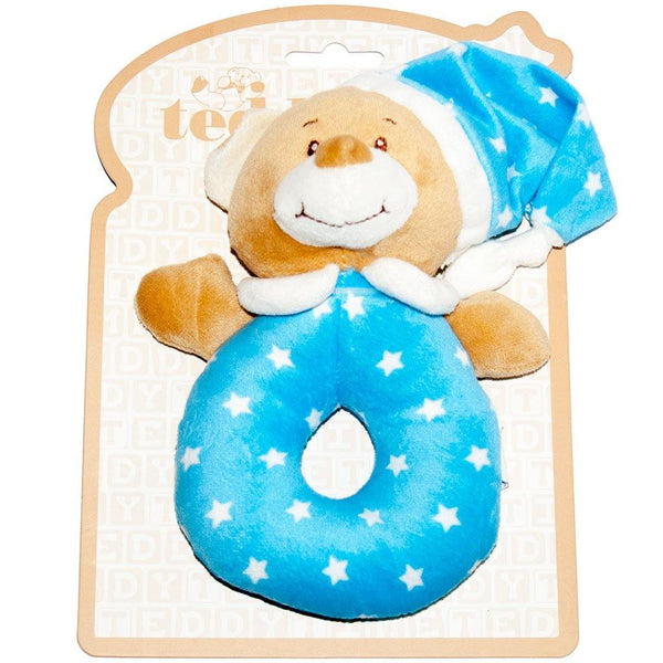 Starlight Teddy Bear Ring Rattle Blue