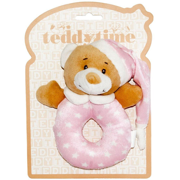 Starbright Teddy Bear Ring Rattle Pink