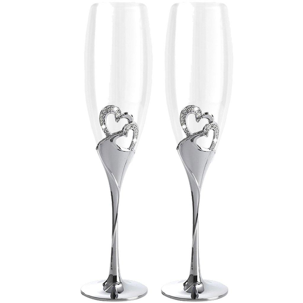 Champagne Flute Set of Two Silver