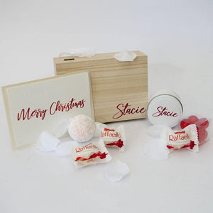 Personalised Timber Gift Box, Personalised tin candle, red bath pearls, Raffaello Chocolates, Personalised Christmas card