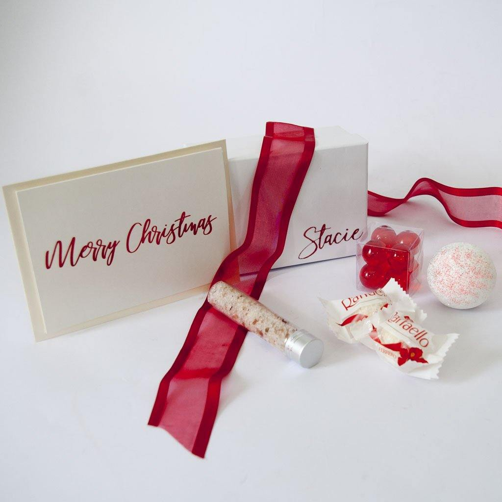 Personalised Gift Box, bath salts, bath pearls, bath fizzy, personlaised christmas card