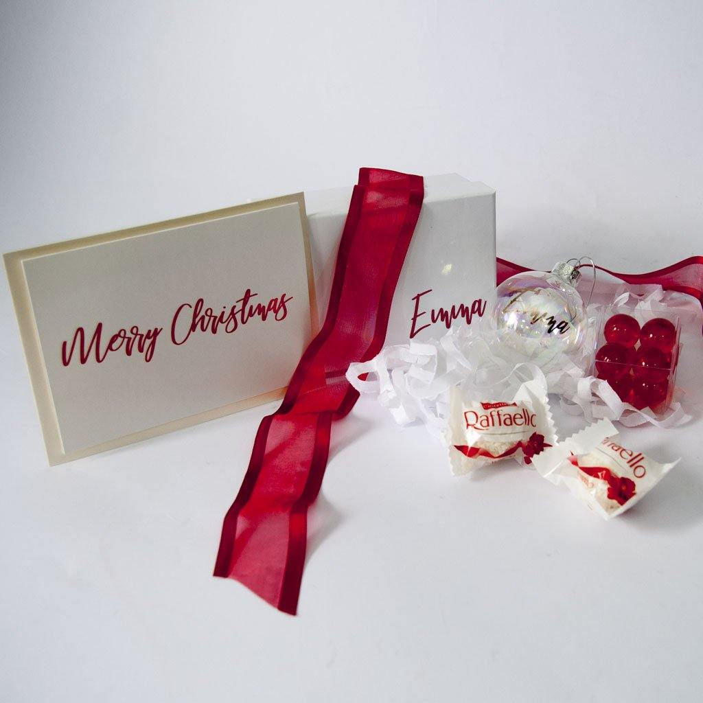 White personalised gift box, Personalised Gift Card, Personalised Bauble, Red bath pearls, Raffaello chocolates.