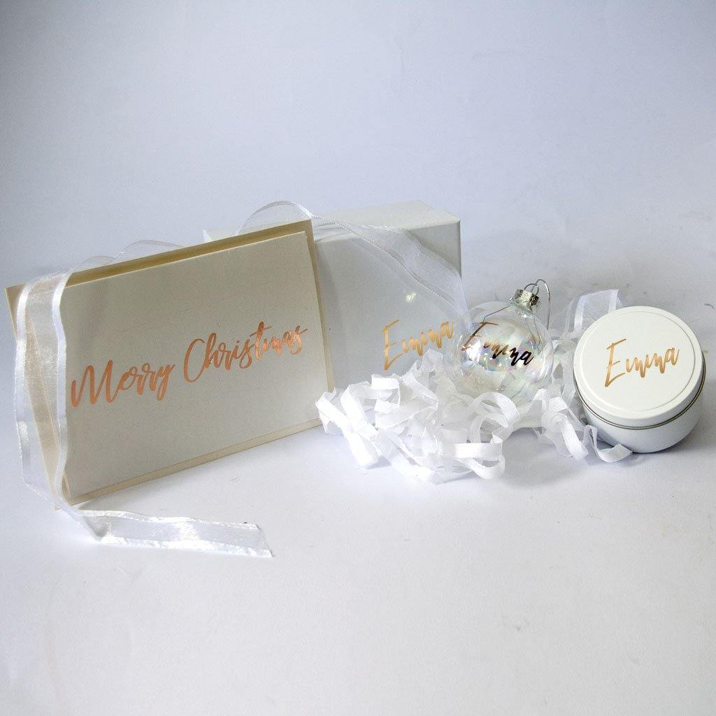 Small white and gold personalised Christmas Gift Box, personalised Christmas Bauble and Personalised tine candle, personalised Christmas Card