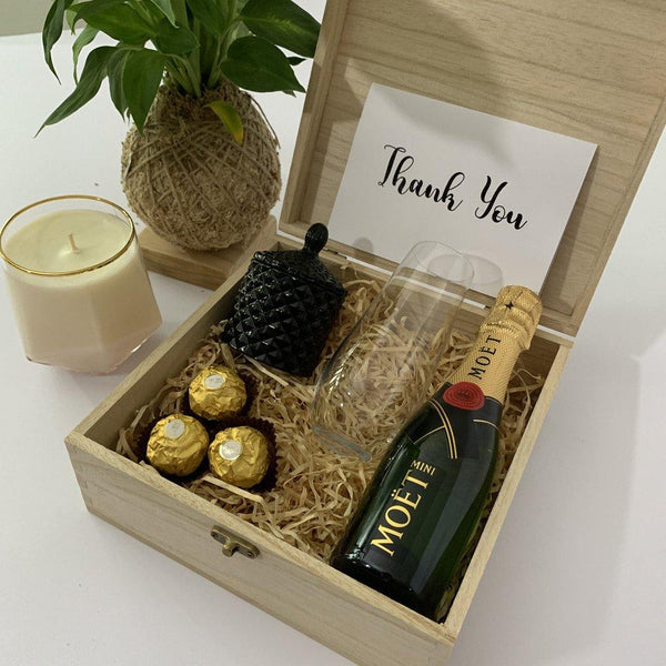 Corporate Celebrating Achievements Hamper - Timber Keep Sake Box - PrettyLittleGiftBox