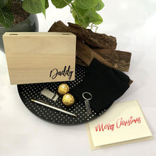 Load image into Gallery viewer, Timber Gift Box, Black Bamboo Socks, Stainless steel teo toned pen, stainless steel money clip, stainless steel dad key ring. ferrero rocher, personalised gift card
