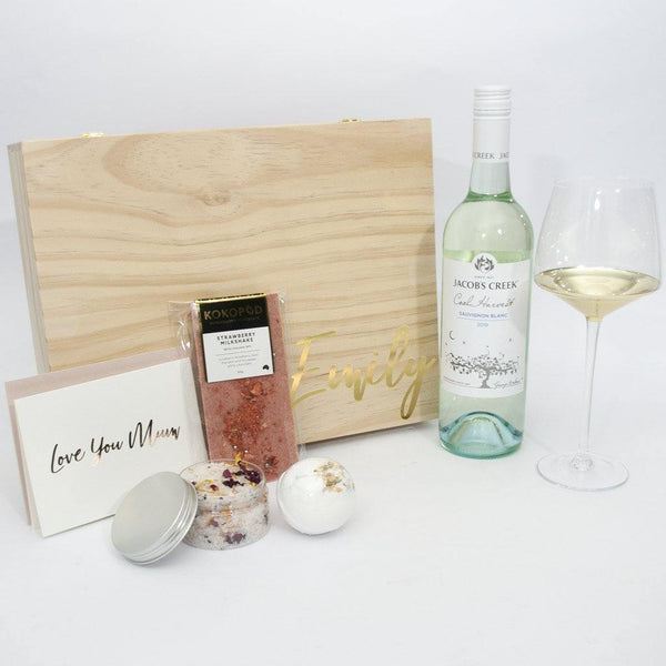 Timber Mothers Day Gift Box with Champaigne Glass