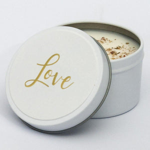 soy candle in tin using gold foil name