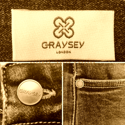 The Graysey Story - Label, buttons and rivets.