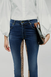 Womens High Rise Kick Flare Jeans With  Leopard Print Stretch Panels