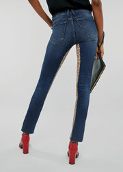Womens High Rise Skinny Jeans With  Leopard Print Stretch Panels