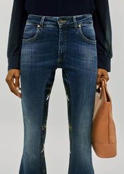 Womens High Rise Kick Flare Jeans Featuring Gary James McQueen 'Babel' Print on the Panels