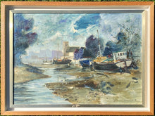"Load image into Gallery viewer, ""Barges at Kew"" oil painting by Jeremy King £360 (70 cms x 52 cms) - The Vintage Look Henely"