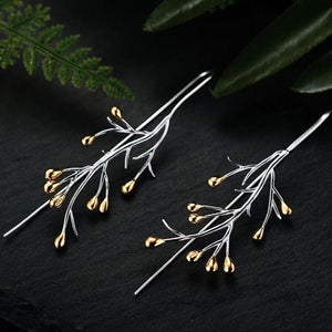 Beautiful 925 Sterling Silver/ 18k Gold Plated Tree Drop Earrings - THE VINTAGE LOOK Henley-on-Thames