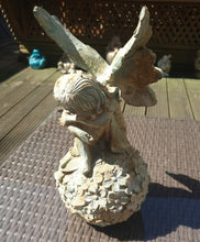 Load image into Gallery viewer, Cast Iron Angel Sitting on a Globe of Flowers - THE VINTAGE LOOK Henley-on-Thames