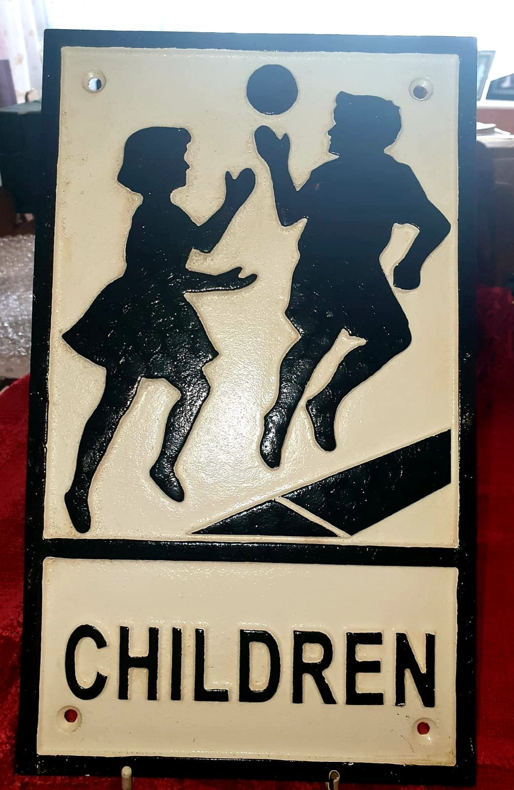 Cast Iron Children Crossing Sign - The Vintage Look Henely