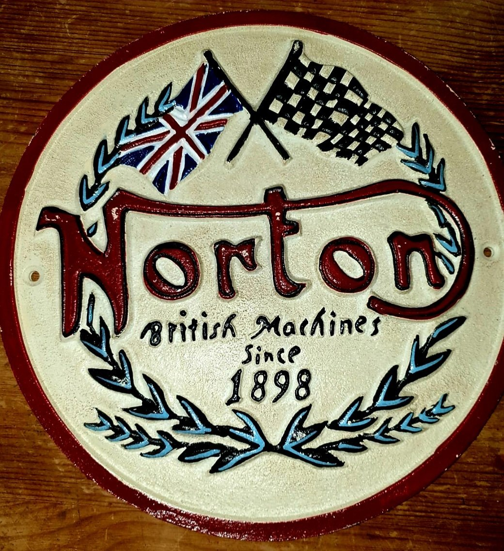Cast Iron Norton Motorcycle Sign 21cm - THE VINTAGE LOOK Henley-on-Thames