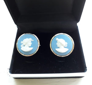Classic Blue Wedgwood Cufflinks 'The Muses' - THE VINTAGE LOOK Henley-on-Thames