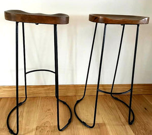 Contemporary Hardwood Bar Stool x1 (4 available) - THE VINTAGE LOOK Henley-on-Thames