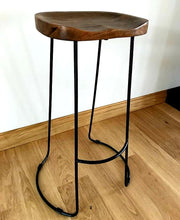Load image into Gallery viewer, Contemporary Hardwood Bar Stool x1 (4 available) - THE VINTAGE LOOK Henley-on-Thames