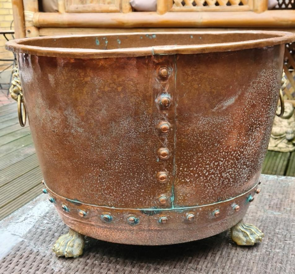 Copper and Brass Log Bin/ Planter on Paw Feet - THE VINTAGE LOOK Henley-on-Thames