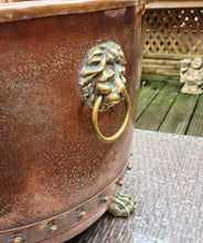 Load image into Gallery viewer, Copper and Brass Log Bin/ Planter on Paw Feet - THE VINTAGE LOOK Henley-on-Thames