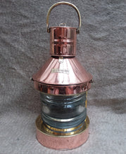 Load image into Gallery viewer, Copper and Brass Masthead Ships Lamp with Oil Lamp Light - THE VINTAGE LOOK Henley-on-Thames