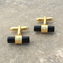 Load image into Gallery viewer, Cylindrical 22ct Gold Plated Black Onyx Cufflinks - THE VINTAGE LOOK Henley-on-Thames