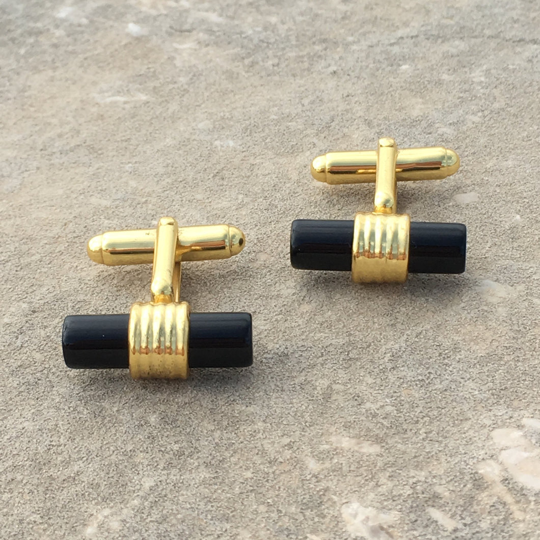 Cylindrical 22ct Gold Plated Black Onyx Cufflinks - THE VINTAGE LOOK Henley-on-Thames