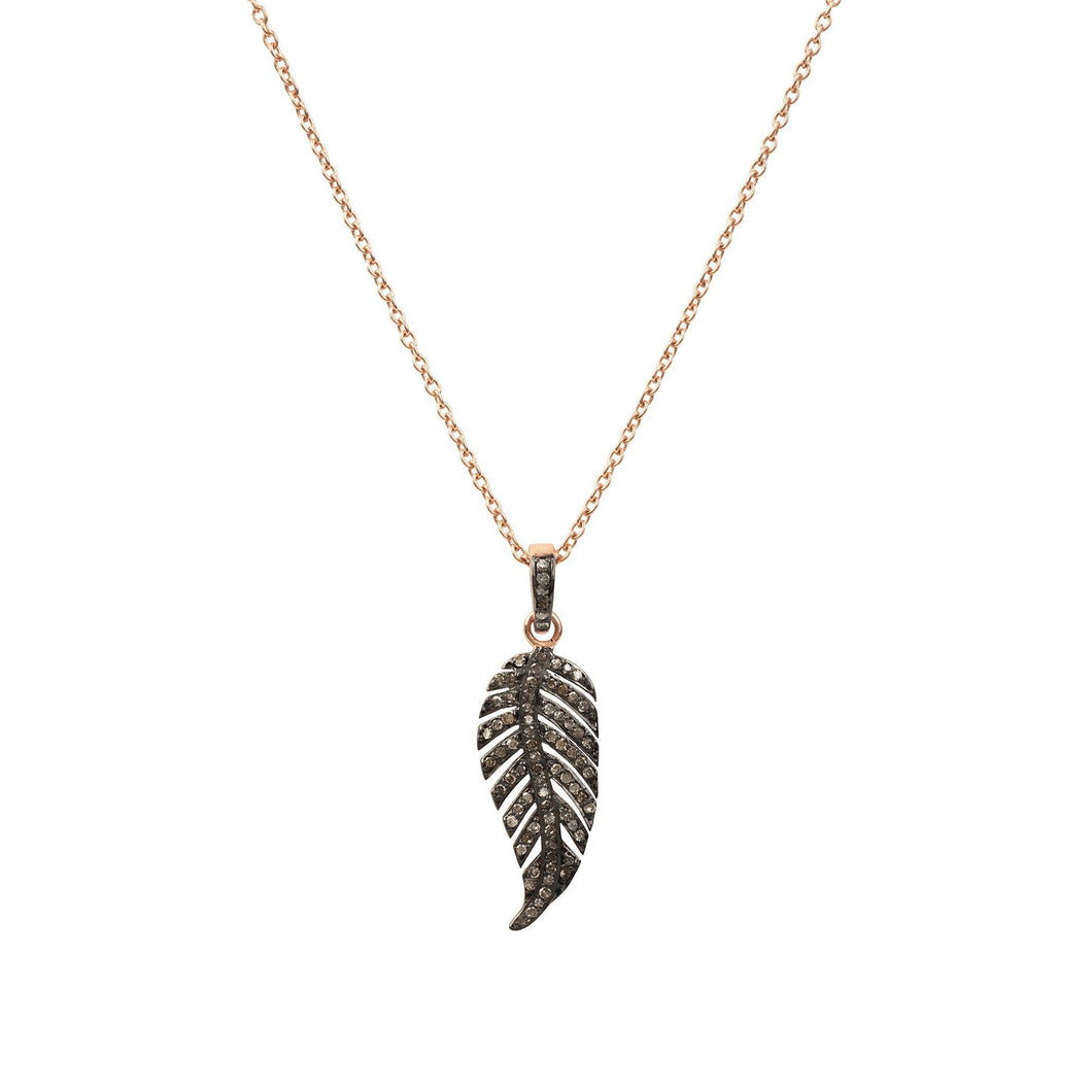 Diamond Large Leaf Necklace Rosegold - THE VINTAGE LOOK Henley-on-Thames