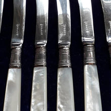 Load image into Gallery viewer, English Silver Plated Butter Knifes with Mother of Pearl Handles - THE VINTAGE LOOK Henley-on-Thames