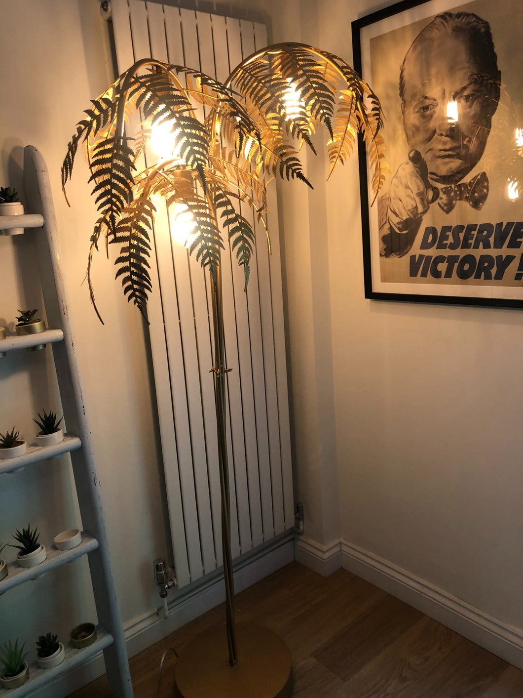 Gold Palm Tree Floor Light :Size 186cm(H) 79cm (W) - The Vintage Look Henely