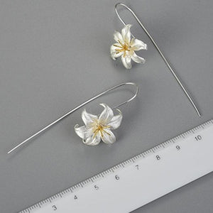 Handmade 925 Sterling Silver/ 18K Gold Plated Lily Flower Drop Earrings - THE VINTAGE LOOK Henley-on-Thames
