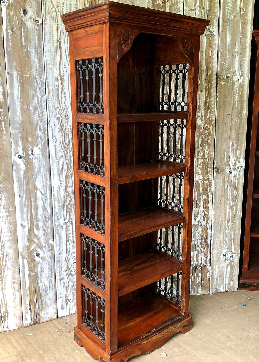Heavy Bookcase With Wrought Iron Panels (6