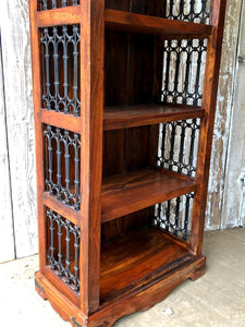 "Heavy Bookcase With Wrought Iron Panels (6"" x 2.2""x 15"") - THE VINTAGE LOOK Henley-on-Thames"