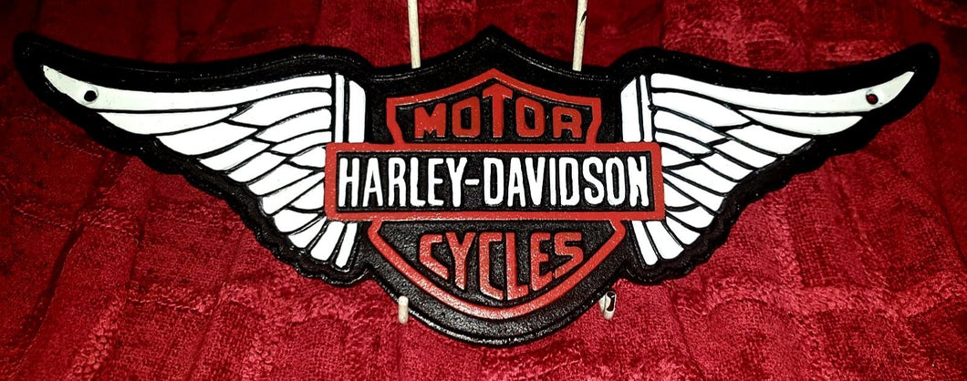 Large Heavy Harley Davidson Wall Sign - The Vintage Look Henely