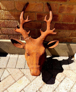 Life Sized Cast Iron Stag Head - The Vintage Look Henely