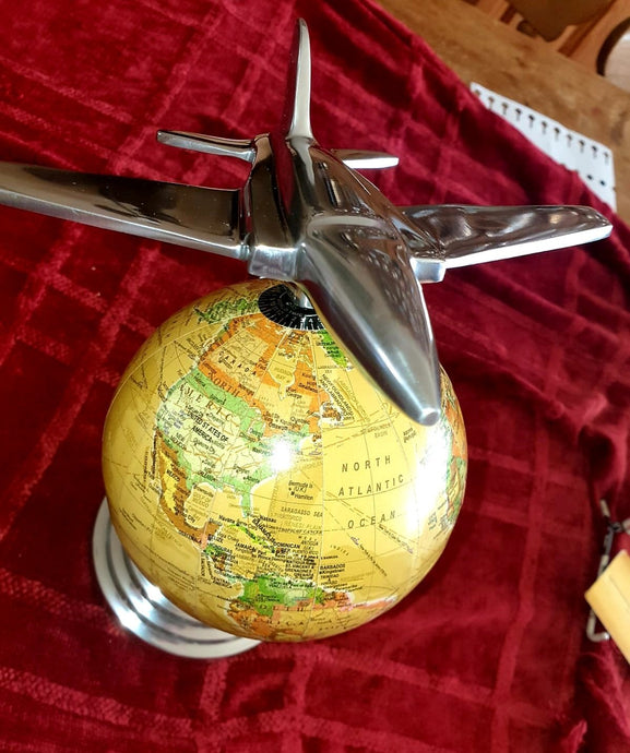 Lovely Globe Decorated with Jet Plane - The Vintage Look Henely