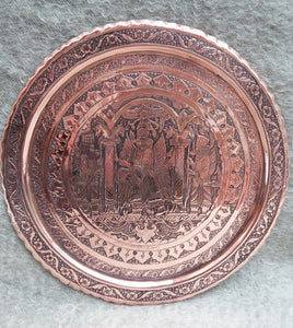 Old Hammered Copper Tray Diameter 45 cm. - THE VINTAGE LOOK Henley-on-Thames