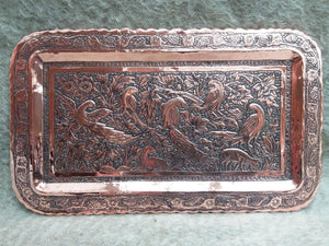 Old Hammered Copper Tray/ Plaque Length 39cm. Width 29cm - THE VINTAGE LOOK Henley-on-Thames