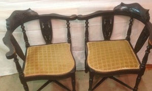 Pair of Aesthetic Victorian Ebonized Corner Chair - THE VINTAGE LOOK Henley-on-Thames