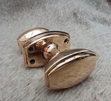Load image into Gallery viewer, Pair of Art Deco Brass (Bronze Shade) Doorknobs circa 1925 - The Vintage Look Henely