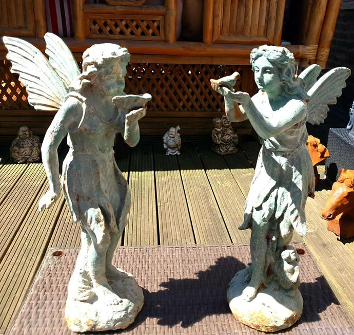 Pair of Beautiful Cast Iron Angels - THE VINTAGE LOOK Henley-on-Thames