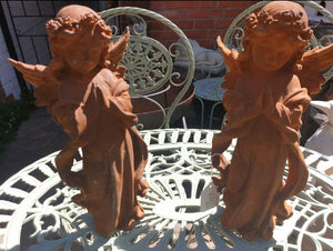 Pair of Cast Iron Angels 33cm Tall - THE VINTAGE LOOK Henley-on-Thames