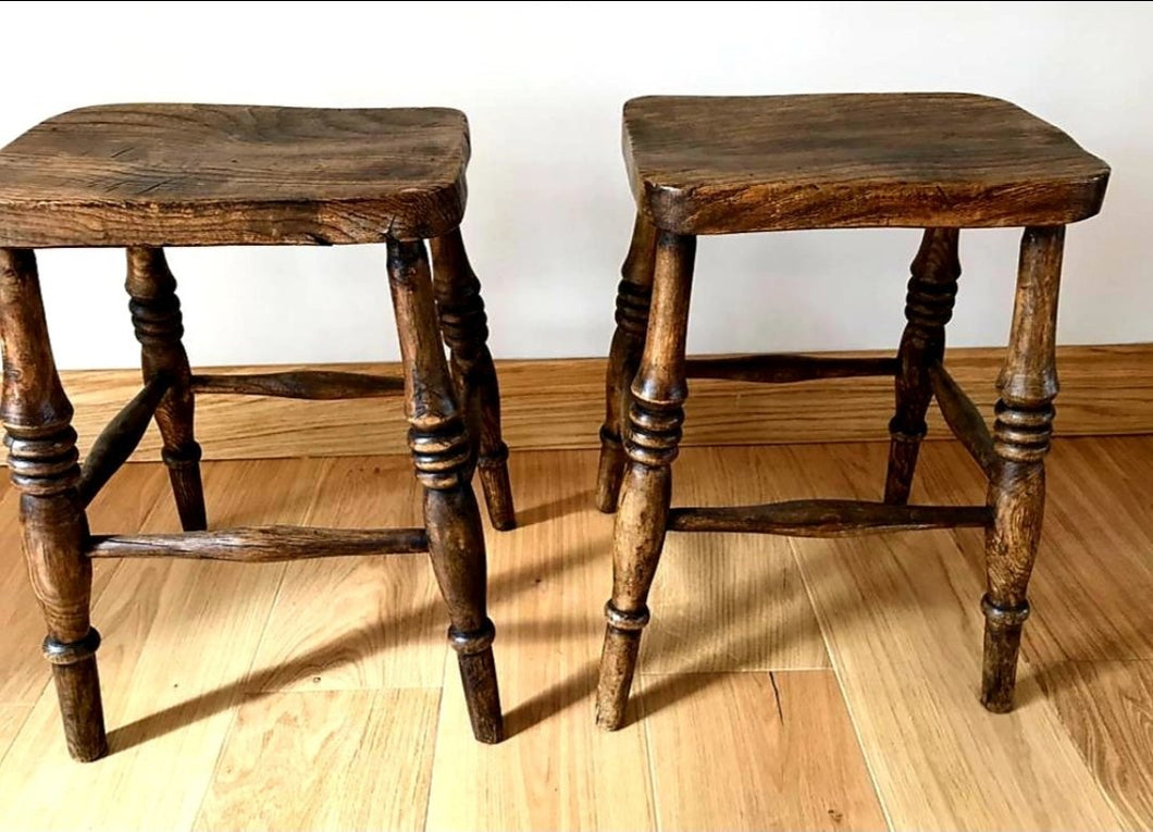 Pair of Elm Stools - THE VINTAGE LOOK Henley-on-Thames