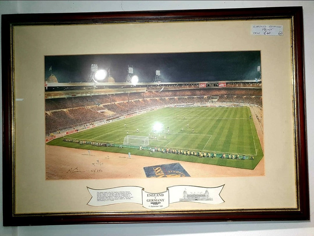Rare Limited Edition Print of England vs Germany 1991 - THE VINTAGE LOOK Henley-on-Thames
