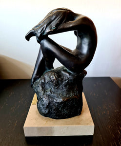 Rare 'Muisdorda' Bronze Figurine with Marble Base by Lluis Jorda - THE VINTAGE LOOK Henley-on-Thames