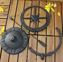 Load image into Gallery viewer, Round Cast Iron Roman Calendar Sundial Garden Ornament - THE VINTAGE LOOK Henley-on-Thames