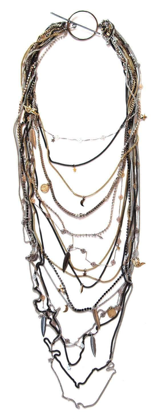 Unique Chain Necklace with Swarovski Crystals and Charms. - THE VINTAGE LOOK Henley-on-Thames