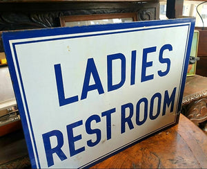 Vintage Double Sided Ladies Restroom Sign 41cm x 31cm - THE VINTAGE LOOK Henley-on-Thames